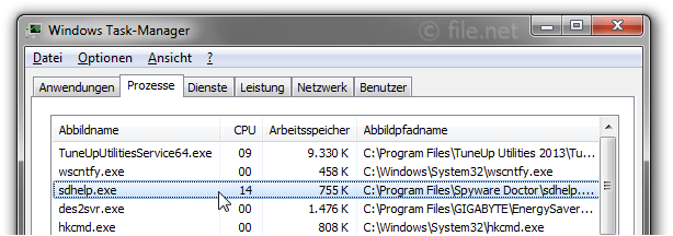 Windows Task-Manager mit sdhelp