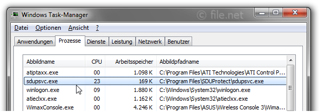 Windows Task-Manager mit sdupsvc