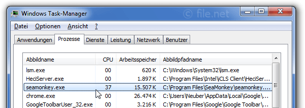 Windows Task-Manager mit seamonkey