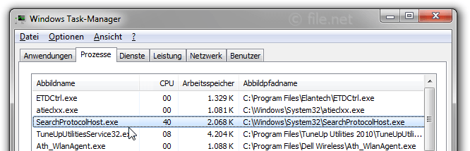Windows Task-Manager mit SearchProtocolHost