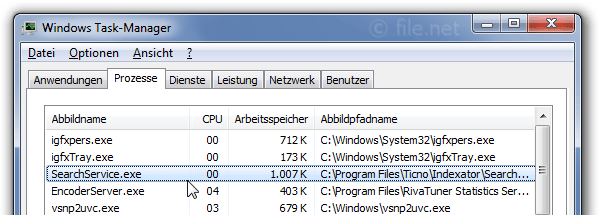 Windows Task-Manager mit SearchService
