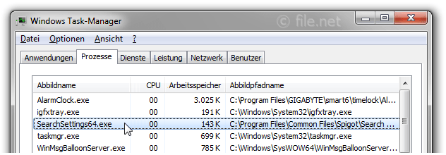 Windows Task-Manager mit SearchSettings64