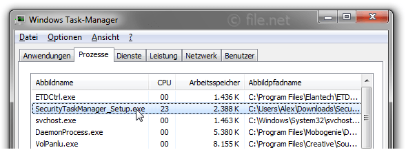 Windows Task-Manager mit SecurityTaskManager_Setup