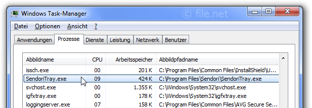 Windows Task-Manager mit SendoriTray