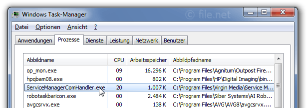 Windows Task-Manager mit ServiceManagerComHandler