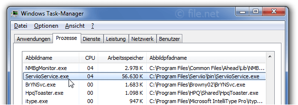 Windows Task-Manager mit ServiioService