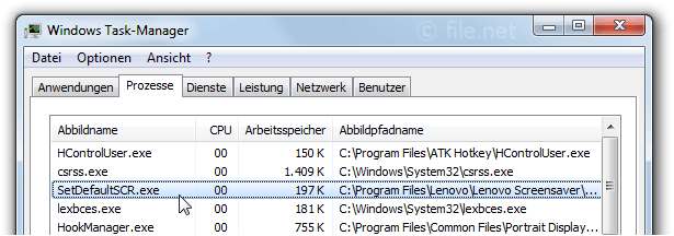 Windows Task-Manager mit SetDefaultSCR