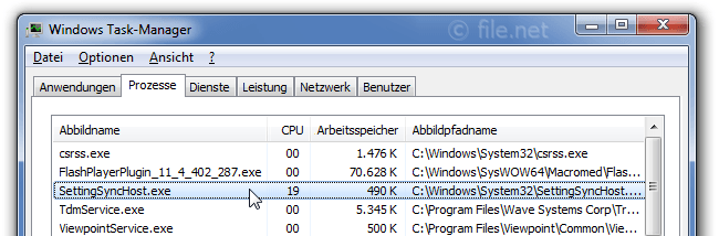 Windows Task-Manager mit SettingSyncHost