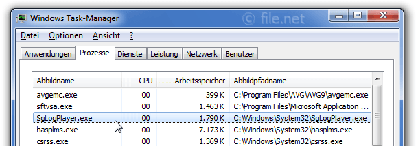 Windows Task-Manager mit SgLogPlayer