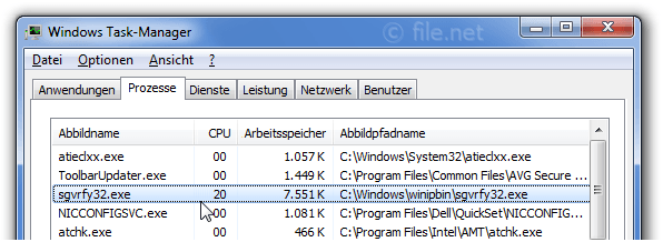 Windows Task-Manager mit sgvrfy32