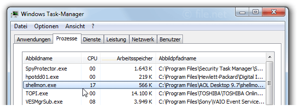 Windows Task-Manager mit shellmon