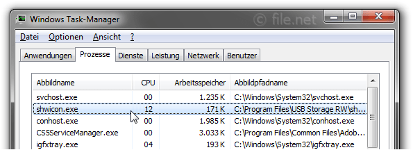 Windows Task-Manager mit shwicon