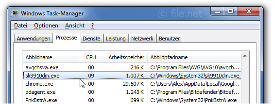 Windows Task-Manager mit sk9910dm