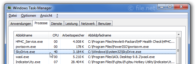Windows Task-Manager mit SkyDrive