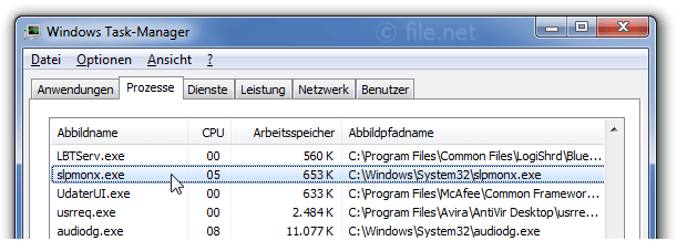 Windows Task-Manager mit slpmonx