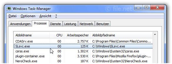 Windows Task-Manager mit slsvc