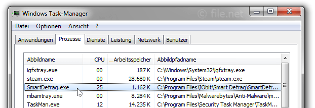 Windows Task-Manager mit SmartDefrag