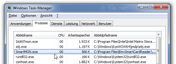 Windows Task-Manager mit SmartMON