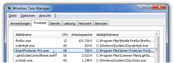 Windows Task-Manager mit SmartProtector-Pro