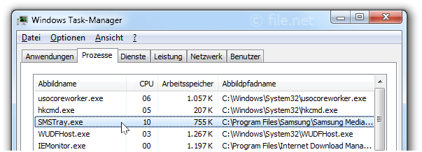 Windows Task-Manager mit SMSTray