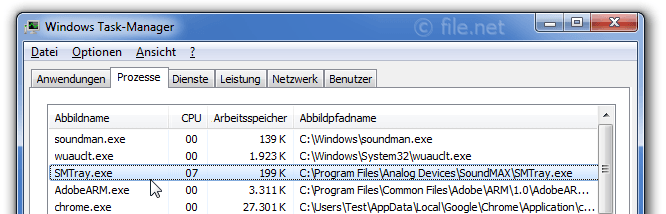 Windows Task-Manager mit SMTray