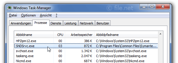 Windows Task-Manager mit SNDSrvc