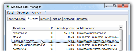 Windows Task-Manager mit SnoopFreeSvc