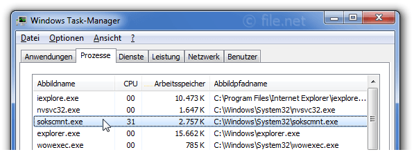 Windows Task-Manager mit sokscmnt