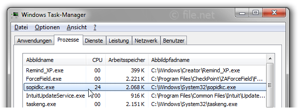Windows Task-Manager mit sopidkc