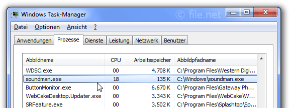 Windows Task-Manager mit soundman