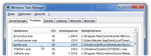 Windows Task-Manager mit spclite