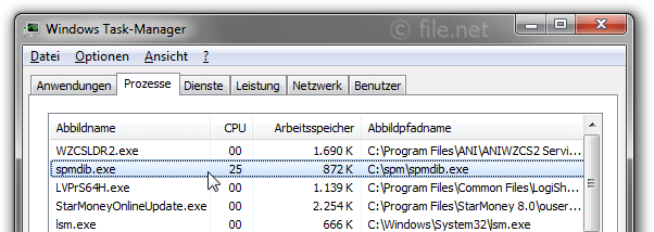 Windows Task-Manager mit spmdib