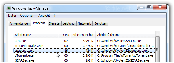 Windows Task-Manager mit spupdsvc