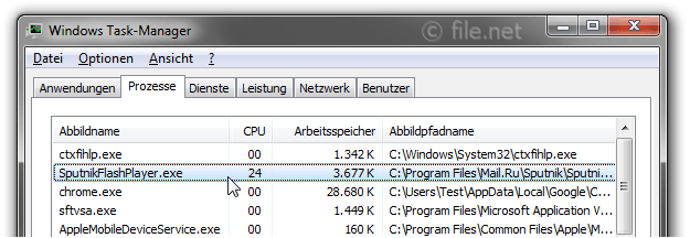 Windows Task-Manager mit SputnikFlashPlayer