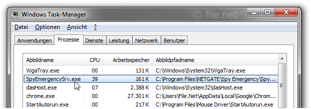 Windows Task-Manager mit SpyEmergencySrv