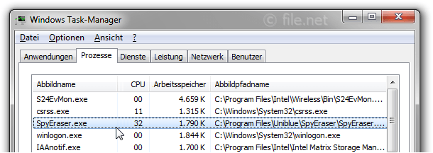 Windows Task-Manager mit SpyEraser