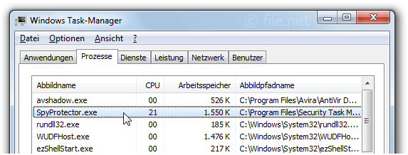 Windows Task-Manager mit SpyProtector