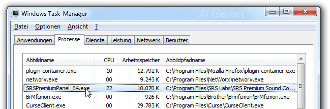 Windows Task-Manager mit SRSPremiumPanel_64