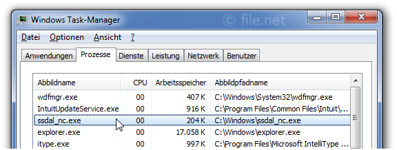Windows Task-Manager mit ssdal_nc
