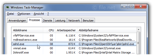 Windows Task-Manager mit sshd
