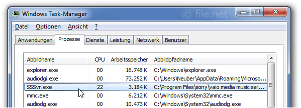 Windows Task-Manager mit SSSvr