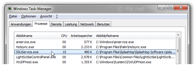 Windows Task-Manager mit SSUService