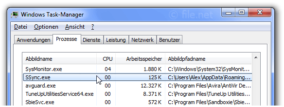 Windows Task-Manager mit SSync