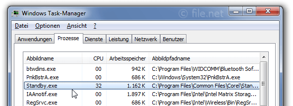 Windows Task-Manager mit Standby