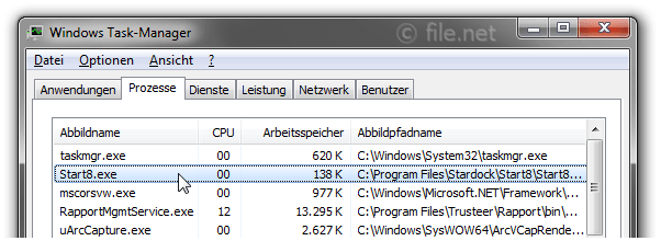 Windows Task-Manager mit Start8