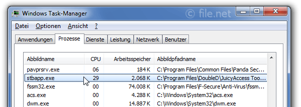 Windows Task-Manager mit stbapp