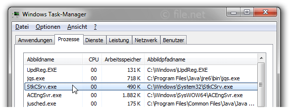 Windows Task-Manager mit StkCSrv