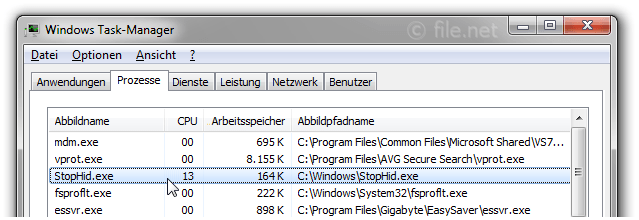 Windows Task-Manager mit StopHid