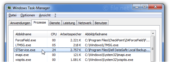 Windows Task-Manager mit STService