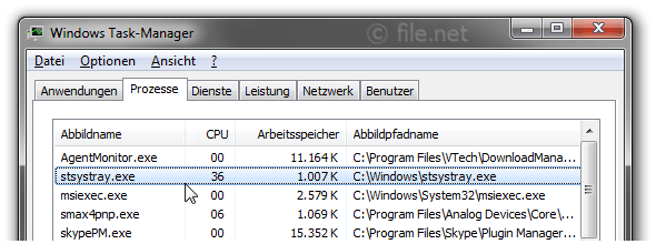 Windows Task-Manager mit stsystray